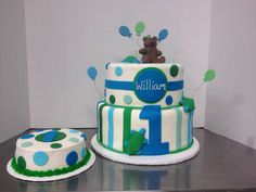 1st Birthday Cake and Smash- blue and green with balloons, teddy bear and turtle with stripes and polka dots. Cake by TracyCakesAR.