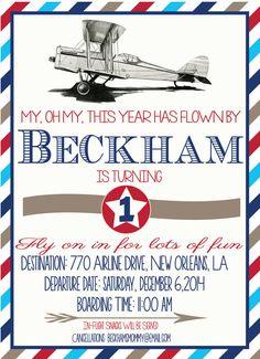 Vintage Airplane Birthday Invitation : Vintage Planes-First Birthday on Etsy, $16.00
