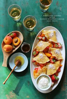 hazelnut crepes with honey whipping cream and fruit + 9 other delicious sweet crepe recipes.
