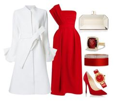 White, Red & Gold by carolineas on Polyvore featuring polyvore, fashion, style, Preen, Goen.J, Christian Louboutin, Judith Leiber, David Yurman, Versace and clothing