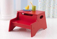 Step 'N Store - Red|Fab Style Kids Rooms http://fabstylekidsrooms.com/Bathrooms/Step-Stools/Step-N-Store-Red #stepstool #baby