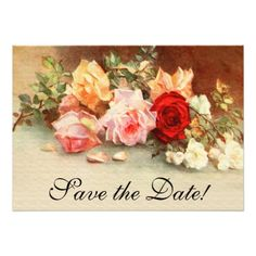 Rose Wedding Save the Date Cards Vintage Wedding Antique Rose Flowers Save the Date Card