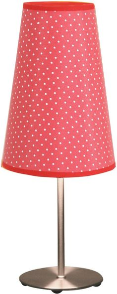 "Lumisource Dot Table Lamp Red. Quaint, charming and absolutely adorable, the Lumisource Dot Table Lamp in Red makes it easy to apply simple charm to your home. In a trendy polka dot pattern that is sure to accompany your home decor and furnishings perfectly, this table lamp has a brushed chrome finish on the base and pole and a lovely red shade with tiny white polka dots.Red Dot Table Lamp :   Shade Dimensions: Top Width: 3.5"" Bottom Width: 5.75"" Height: 8.75"" Metal Pole..."
