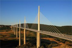 Millau Viaduct that spans the valley of the river Tarn near Millau in southern France.