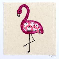 Flamingo greeting card   A handmade stitched piece of art measuring 6x6 inches square including backing card. The design is appliquéd onto canvas. Cards are left blank inside.  This item is made to order, meaning it will be made to my original design (shown above), but each item will be individual and have its own subtle differences. I can add a small amount of hand-printed text to this design. Please see the last photo for examples. If you would like to include text please write exactly…