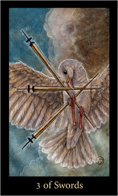 Free Daily Tarotscope — Jan 16, 2015 — Three of Swords -- Today's card — from the Mary-el Tarot — is a very different Three of Swords than we're used to seeing.  The most common version depicts a blood red heart lanced by three swords, symbolizing loss, pain, heartache and rejection. Being stabbed in the heart or broken hearted. A deep searing wound accompanied by unfathomable pain. (more)...