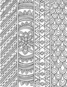 Patterned Ribbons Colouring Page