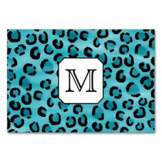 Teal Leopard Print, Custom Monogram. Table Card