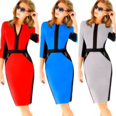 Women Colorblock Cotton Stretch Tunic Wear To Work Party Pencil Sheath Dress NEW