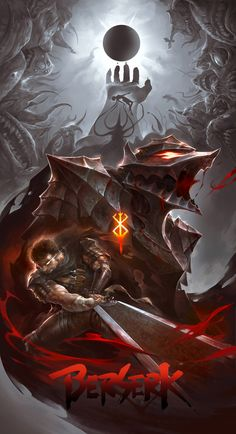 Tags: DigitalART Manga Fanart Anime Berserk Guts Gattsu Gatsu Black Swordsman Beast of Darkness Berserker Dragonslayer Branded God Hand Caska Band of the Hawk Eclipse Apostle