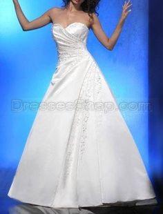 2010 A-Line White Sweet-Heart Applique Beading Pleated Lace up Taffeta Wedding Dress Dress Wedding