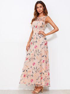 ce772e0119c All Over Flower Embroidered Mesh Overlay Dress