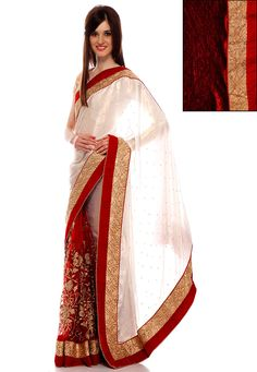 Off White and Red Net and Art Crepe Saree with Blouse: SEG24