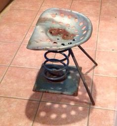 Circa 50's 60's Tractor Spring Shop stool by SteelElephantTrading