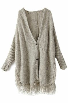 ROMWE | Batwing Sleeves Fringed Hem Split Grey Cardigan, The Latest Street Fashion