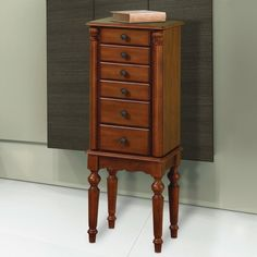 Jewelry armoire mahogany Queen Anne corner damage CO3012 Jewelry