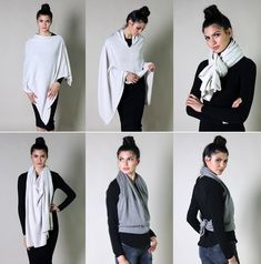 b63c0c202111 12 Colors 100% Organic Cotton Wear It 5-Way Poncho Sweater Knitted Poncho
