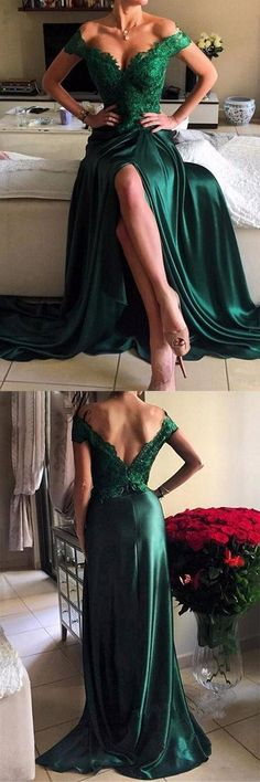 Off the Shoulder Prom Dress, Sheath Prom Dresses, Sexy Evening Gowns, Satin Party Dresses, Green Formal Dresses