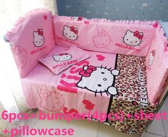 (39.80$)  Watch here - http://ai9jh.worlditems.win/all/product.php?id=32505651410 - Promotion! 6PCS Hello Kitty Baby bedding set 100% cotton cotton girl/boy comfortable ,include:(bumper+sheet+pillow cover)