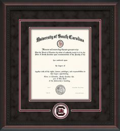 U of South Carolina Diploma Frame-Mahog Braid-Logo-Print-Black Suede – Gamecock - Professional Framing Company