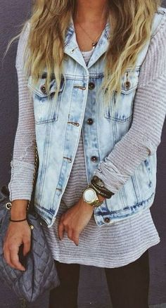 This is exactly how you rock a denim vest! Great style | Stylish outfit ideas for women who follow fashion. #rippedjeanswomenoutfit