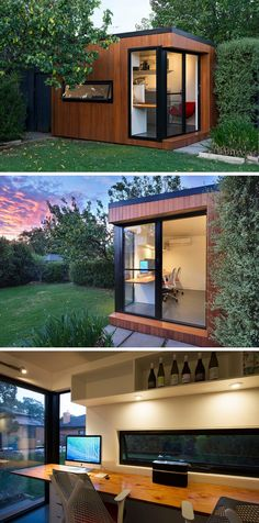 This prefab backyard home office is covered in wood and black trim surrounds the windows and sliding door.