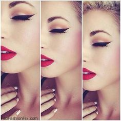 Perfect cat eye and red lipstick for glam makeup look. #makeup