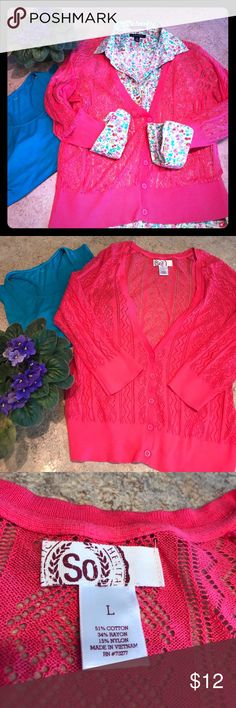"""SO Hot Pink Open Knit Cardigan Sweater Hot pink yet cool and breezy. In excellent pre-loved condition. 38"""" at bust without stretching and approx 38"""" in length. Very lightweight with open knit. SO Sweaters Cardigans"""