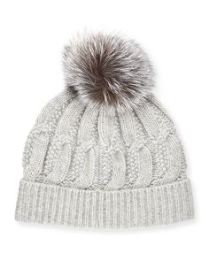 Cable-Knit Cashmere Fur-Pom Beanie Hat, Gray