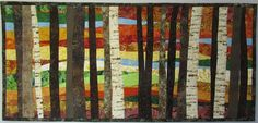 Art Quilt Trees 25 in Autumn Wall Hanging Landscape Quilt