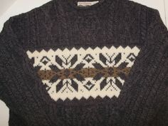 Celtic Country XL Men's Fisherman Sweater Wool Snowflake Cable Knit Ireland  #CelticCountry #FishermanSweater