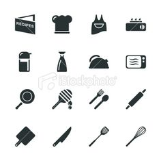 Cooking Silhouette Icons Royalty Free Stock Vector Art Illustration Free Vector Art, Vector File, Recipe Icon, Food Icons, Silhouette Vector, Image Now, Cooking, Silhouettes, Illustration