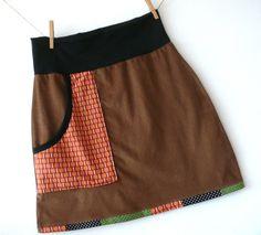 Cordrock 40 Sixties Mini Retro Stil Orange von Klitzefanten auf DaWanda.com