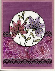 Peel-Off #2530. Glitter Ritz colored with Copic Makers, Shimmer Sheetz, alcohol ink, embossing folder by Donna