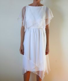 70s  White Chiffon Dress Scallop Assymetrical Hem Bias Cut  Vintage Miss Elliete
