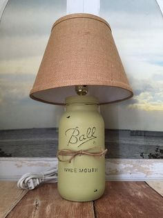 Mason Jar Lamp Distressed and Painted Wasabi Green with Burlap