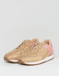 ASOS Sneakers In Stone Faux Suede With Pink Heel - Stone