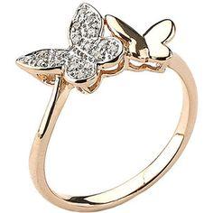 Samuel B. Fine Jewelry 14K Rose Gold Diamond Double Butterfly Ring