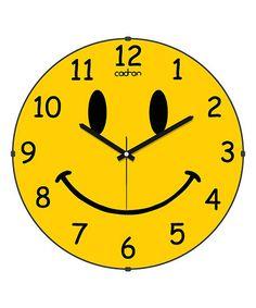 Cadran Yellow Smiley Face Wall Clock   zulily