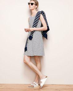 J.Crew stripe back-zip dress and mens' linen-cotton sweater in nautical stripe and white Arizona Birkenstocks.