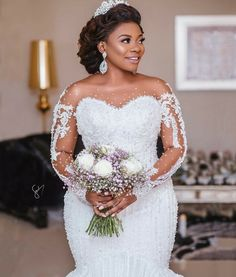 What a Bride To Behold- Her Hair Makeup And Dress Are Goals; Watch Video Of Bride Flaunting It All - Wedding Digest Naija African Wedding Dress, Sexy Wedding Dresses, Wedding Attire, Bridal Dresses, Ghana Wedding Dress, African Bridesmaid Dresses, Plus Size Wedding Gowns, Luxe Wedding, Wedding Ceremony