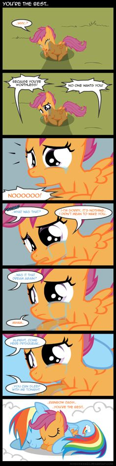 Awww — scootaloo and rainbow dash makes me wanna bawl but I'm at work
