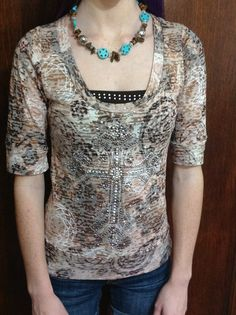 Cross Rhinestone Burnout blouse by TheresasCreationsBq on Etsy, $28.95