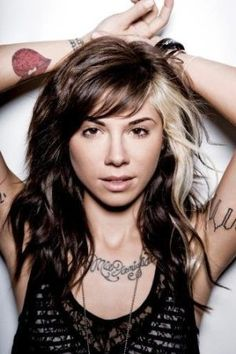 Christina Perri... Why do I LOVE her blonde streak!! I want one :)