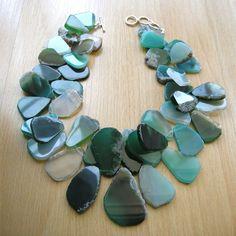 agate teal slab necklace