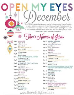 Open My Eyes December Scripture Writing Plan. — The Felicity Bee❤️