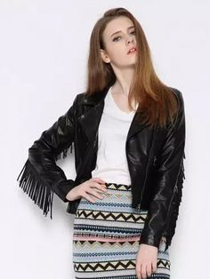 Biker jacket with fringe makes for a perfect statement piece.