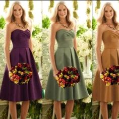 Love the green dresses with the fall bouquet!