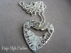 Russia Hand Stamped Heart necklace by KeeferStyleCreations on Etsy, $58.00