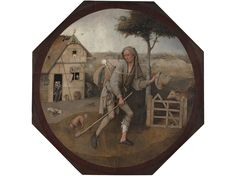The Wayfarer (or The Pedlar)(Museum Boijmans Van Beuningen). The man has left the house behind, but his longing gaze, as well as the closed gate and cow obstructing his path forward, question the degree to which he's prepared to actually carry on along the straight and narrow path, rather than regressing. And his tattered clothes, apparent leg injury, and several other bizarre accessories on his person further cloud matters.Even 500 Years After His Death, Hieronymus Bosch Hasn't Lost His…